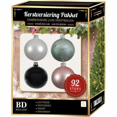Complete kerstballen set wit/mintgroen/lichtroze/zwart voor 150 cm kerstboom