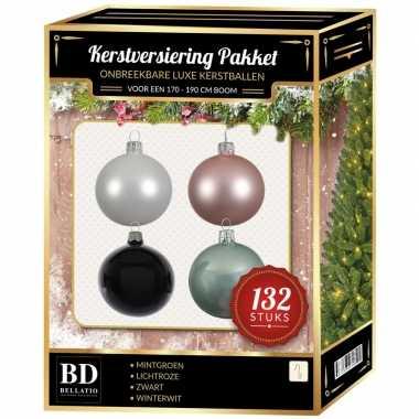 Complete kerstballen set wit/mintgroen/lichtroze/zwart voor 180 cm kerstboom