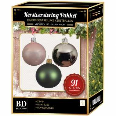 Complete kerstballen set zilver-donkergroen-lichtroze voor 150 cm ker