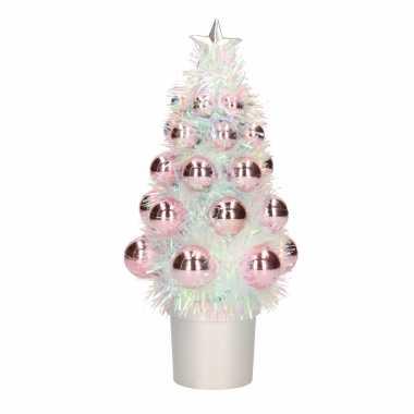 Complete mini kunst kerstboompje / kunstboompje roze met kerstballen 20 cm