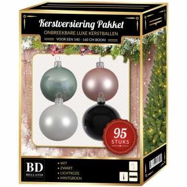 Complete versiering set wit-lichtroze-mintgroen-zwart voor 150 cm kerstboom
