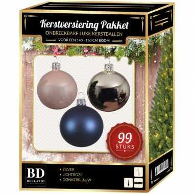 Complete versiering set zilver-lichtroze-donkerblauw voor 150 cm kers