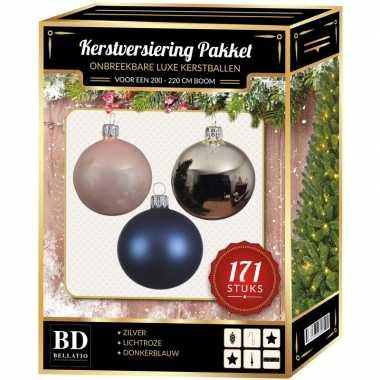 Complete versiering set zilver-lichtroze-donkerblauw voor 210 cm kers