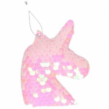 Eenhoorn roze pailletten kerstboomhanger/kersthanger 7 cm