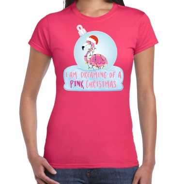Flamingo kerstbal shirt / kerst outfit i am dreaming of a pink christmas roze voor dames