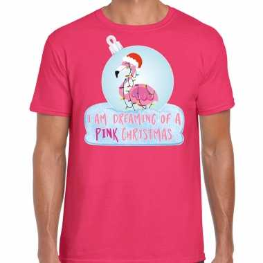 Flamingo kerstbal shirt / kerst outfit i am dreaming of a pink christmas roze voor heren