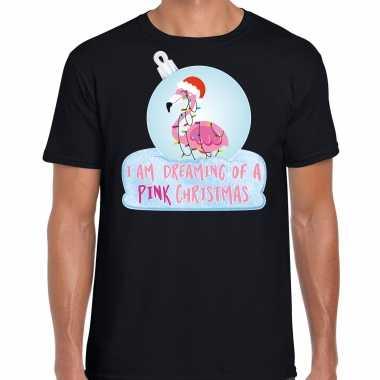 Flamingo kerstbal shirt / kerst outfit i am dreaming of a pink christmas zwart voor heren