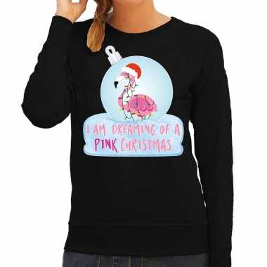 Flamingo kerstbal sweater / kerst outfit i am dreaming of a pink christmas zwart voor dames