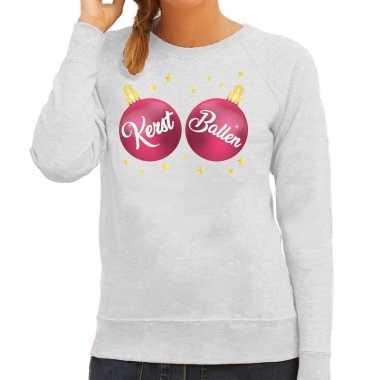 Foute kersttrui / sweater grijs met kerst ballen voor dames