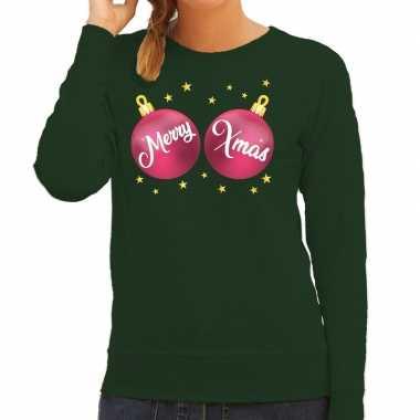Foute kersttrui / sweater groen met roze merry xmas voor dames