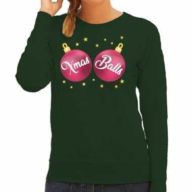 Foute kersttrui / sweater groen met roze xmas balls voor dames