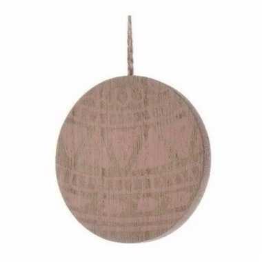 Houten kerstboom versiering schijf hout met roze printje 8 cm