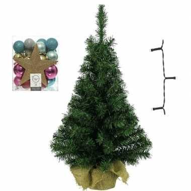 Kantoor/bureau kerstboom compleet met decoratie goud/fuchsia