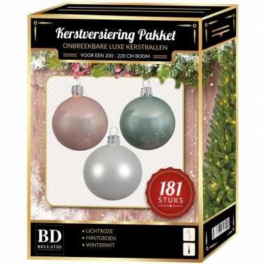 Kerstballen met piek set wit-mintgroen-lichtroze voor 210 cm kerstboo