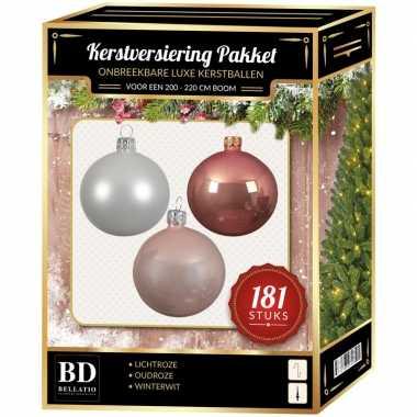 Kerstballen met piek set wit-oudroze-lichtroze voor 210 cm kerstboom