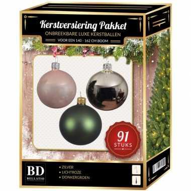 Kerstballen met piek set zilver-donkergroen-lichtroze voor 150 cm ker