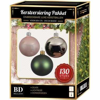 Kerstballen met piek set zilver-donkergroen-lichtroze voor 180 cm ker