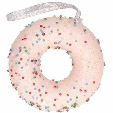 Kerstboomhanger/kersthanger lichtroze donut met kraaltjes 10 cm
