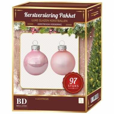 Kerstboomversiering kerstballen set roze 97 stuks