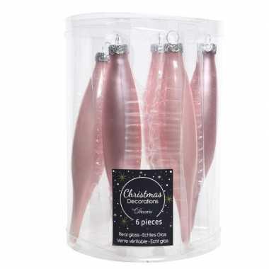 Roze kerstballen pegels glas 12 stuks