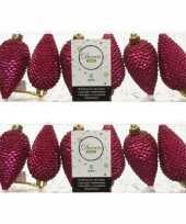 12x bessen roze dennenappels kersthangers 8 cm kunststof