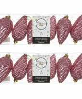 12x oud roze dennenappels kersthangers 8 cm kunststof glitter