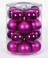 20x fuchsia glazen kerstballen 6 cm glans en mat