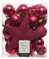 33x bessen roze kerstballen met ster piek 5 6 8 cm kunststof mi