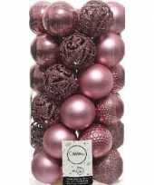 37x oud roze kerstballen 6 cm kunststof mix