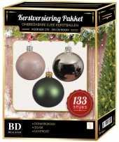 Complete kerstballen set 133x zilver donkergroen lichtroze voor 180 cm kerstboom