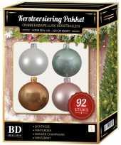 Complete kerstballen set wit beige mintgroen lichtroze voor 150 cm kerstboom