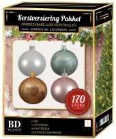 Complete kerstballen set wit champagne mintgroen lichtroze voor 210 cm kerstboom
