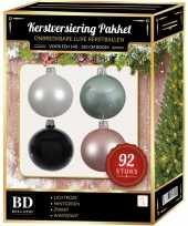 Complete kerstballen set wit mintgroen lichtroze zwart voor 150 cm kerstboom