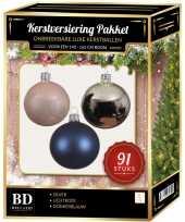 Complete kerstballen set zilver donkerblauw lichtroze voor 150 cm kerstboom