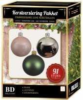 Complete kerstballen set zilver donkergroen lichtroze voor 150 cm kerstboom