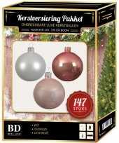 Complete luxe versiering set wit oud roze lichtroze voor 180 cm kerstboom