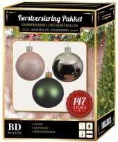 Complete luxe versiering set zilver lichtroze dennengroen voor 180 cm kerstboom