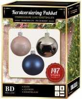 Complete luxe versiering set zilver lichtroze donkerblauw voor 180 cm kerstboom