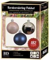 Complete luxe versiering set zilver lichtroze donkerblauw voor 210 cm kerstboom