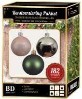 Complete luxe versiering set zilver lichtroze donkergroen voor 210 cm kerstboom