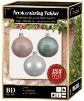 Complete versiering set wit lichtroze mintgroen voor 180 cm kerstboom