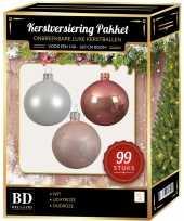 Complete versiering set wit oud roze lichtroze voor 150 cm kerstboom