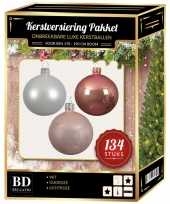 Complete versiering set wit oud roze lichtroze voor 180 cm kerstboom