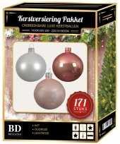 Complete versiering set wit oud roze lichtroze voor 210 cm kerstboom