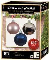 Complete versiering set zilver lichtroze donkerblauw voor 180 cm kerstboom