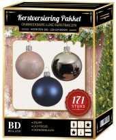 Complete versiering set zilver lichtroze donkerblauw voor 210 cm kerstboom