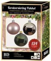 Complete versiering set zilver lichtroze donkergroen voor 180 cm kerstboom
