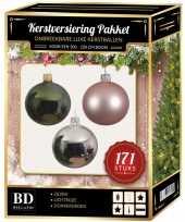 Complete versiering set zilver lichtroze donkergroen voor 210 cm kerstboom