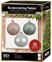 Kerstballen met piek set wit mint lichtroze voor 150 cm kerstboom