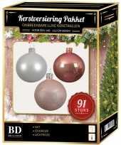 Kerstballen met piek set wit oud roze lichtroze voor 150 cm kerstboom
